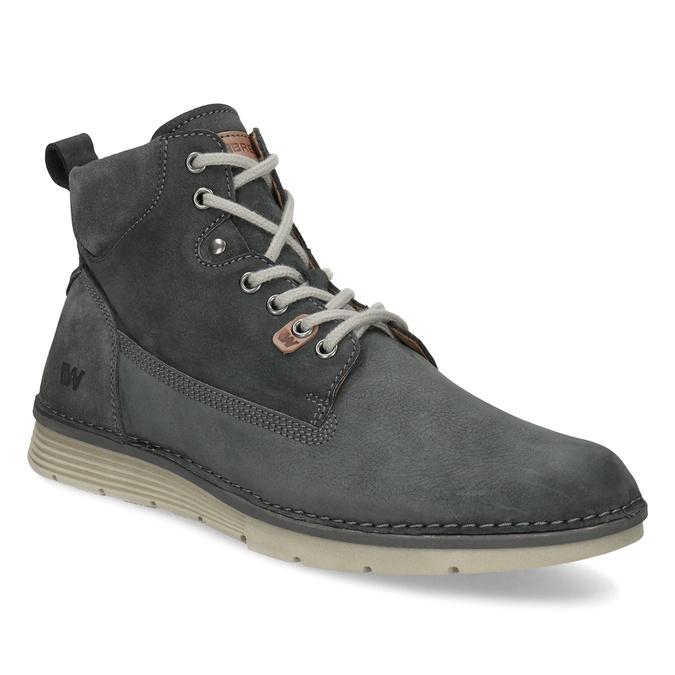 Kotníčková kožená pánská obuv s prošitím weinbrenner, šedá, 846-6719 - 13