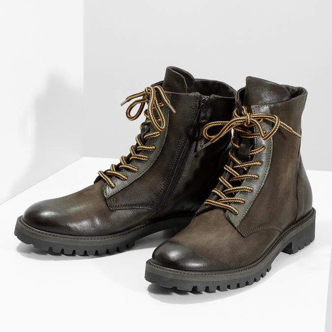 Zimní vysoká kožená kotníčková obuv bata, šedá, 896-2737 - 16