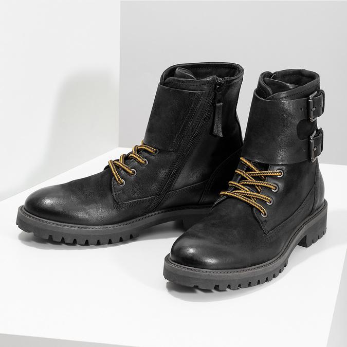 Pánská kožená zimní obuv černá bata, černá, 896-6735 - 16