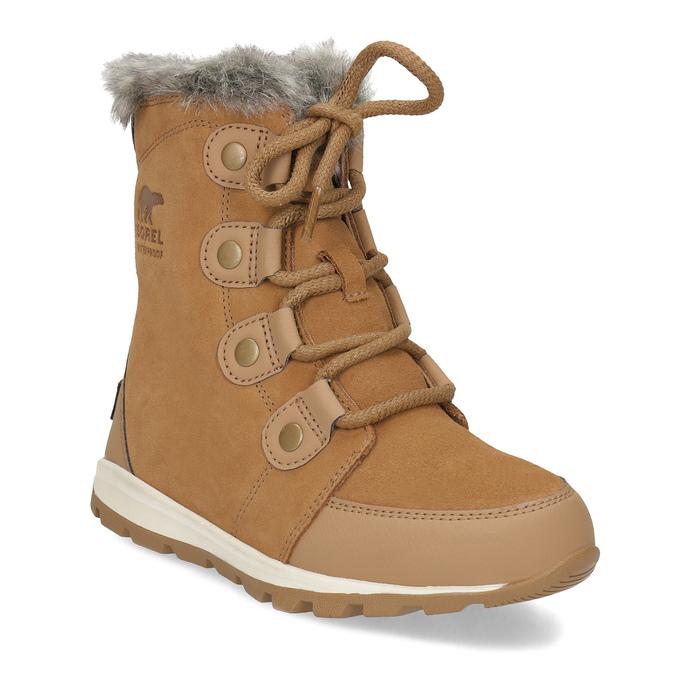 Kožená dětská zimní obuv s kožíškem sorel, hnědá, 393-3041 - 13