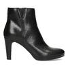 Kožená černá kotníčková obuv na podpatku bata, černá, 794-6656 - 19