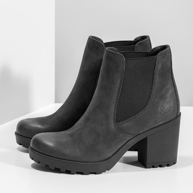 Kožená kotníčková obuv na stabilním podpatku bata, černá, 796-6652 - 16