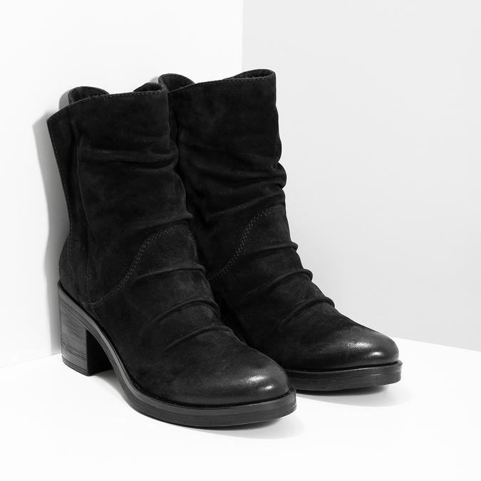 Nízké kožené kozačky černé bata, černá, 696-6659 - 26