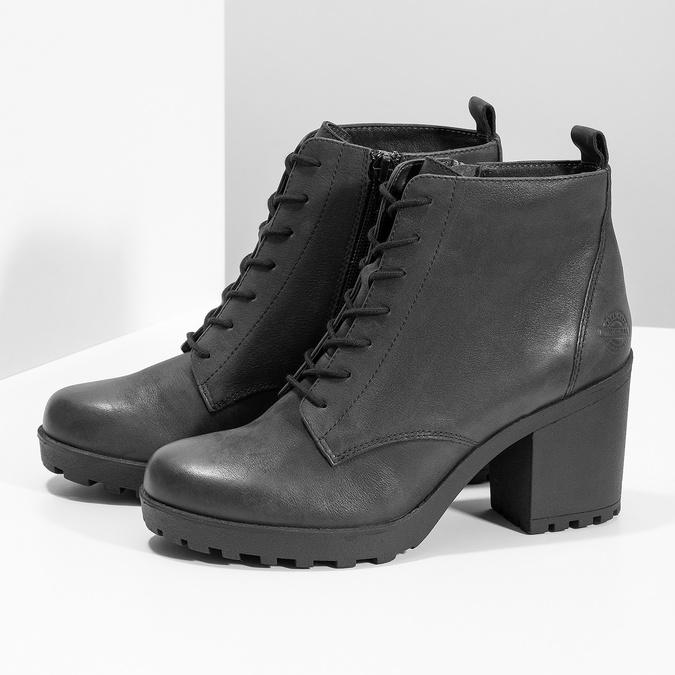 Dámská kožená kotníčková obuv se šněrováním bata, černá, 796-6653 - 16