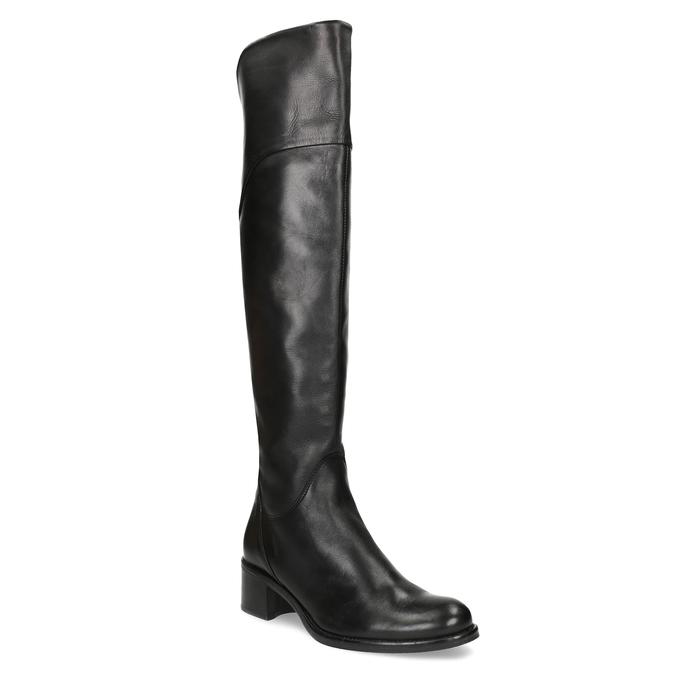 Kožené černé kozačky nad kolena bata, černá, 694-6666 - 13