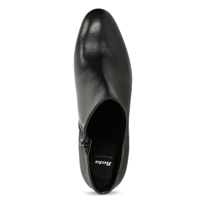 Kotníčkové kožené kozačky na stabilním podpatku bata, černá, 796-6654 - 17