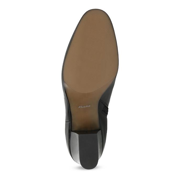 Kotníčkové kožené kozačky na stabilním podpatku bata, černá, 796-6654 - 18