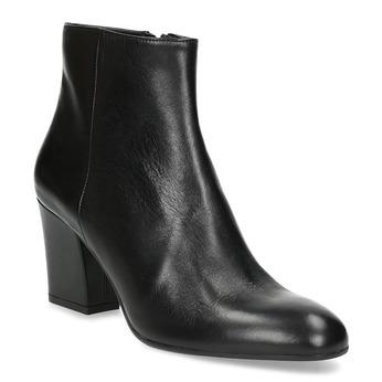 Kotníčková kožená obuv na stabilním podpatku bata, černá, 796-6654 - 13