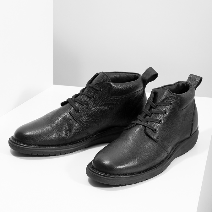 Pánská kožená kotníčková obuv comfit, černá, 894-6701 - 16