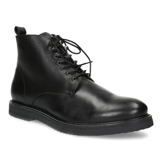 Černá kožená kotníčková pánská obuv bata, černá, 894-6721 - 13