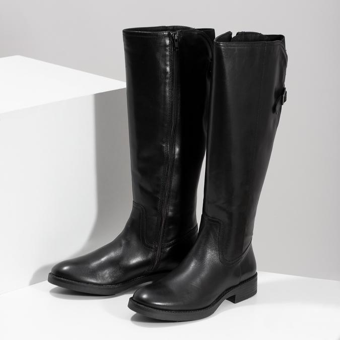Kožené černé kozačky s přezkou bata, černá, 594-6678 - 16