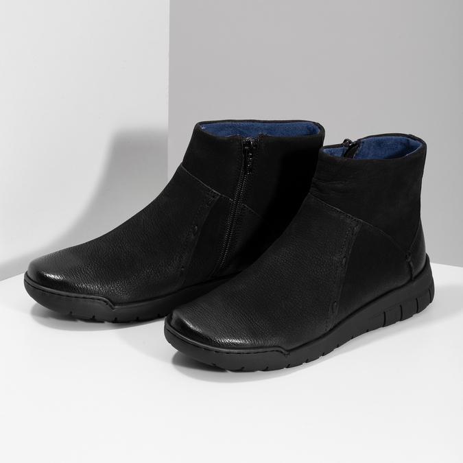 Kožená dámská kotníčková obuv bata, černá, 596-6706 - 16