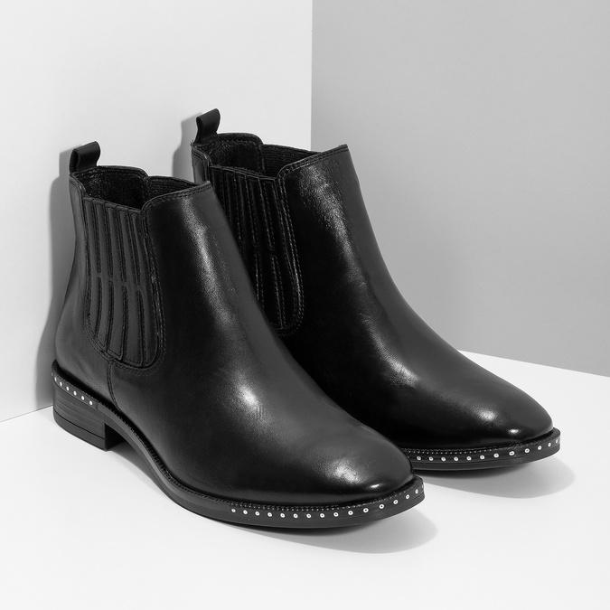 Dámská kožená Chelsea obuv s kamínky bata, černá, 594-6682 - 26