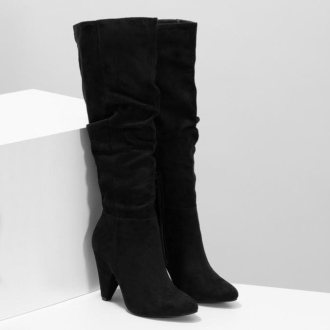 Černé řasené kozačky na kónickém podpatku bata-red-label, černá, 799-6634 - 26