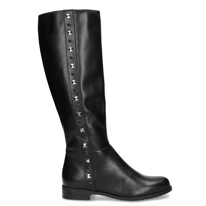 Kožené černé kozačky s kovovými cvoky bata, černá, 594-6712 - 19