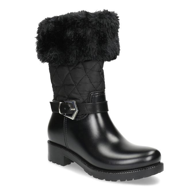 Dámské sněhule s kožíškem černé bata, černá, 592-6602 - 13