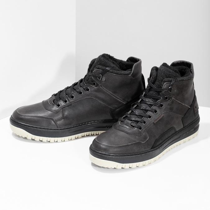 Černá pánská kožená kotníková obuv bata, černá, 896-6712 - 16