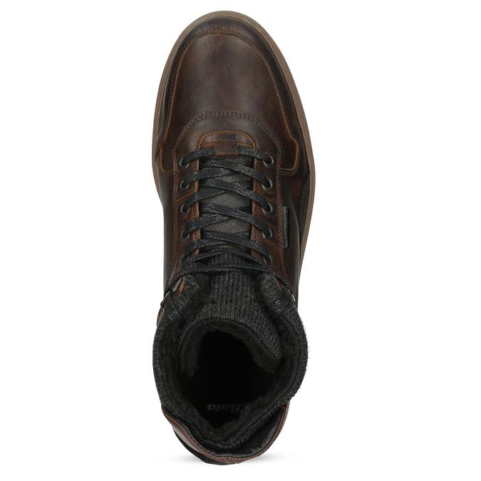 Kotníková kožená pánská zimní obuv bata, hnědá, 896-3712 - 17