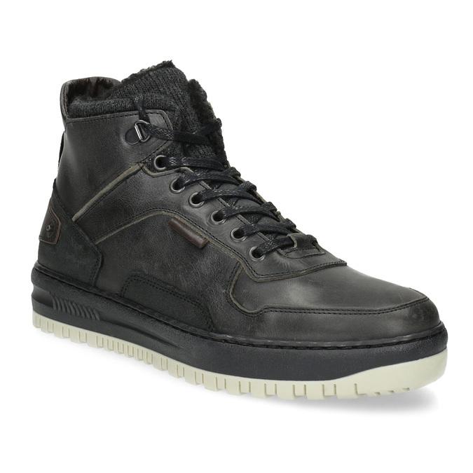 Černá pánská kožená kotníková obuv bata, černá, 896-6712 - 13