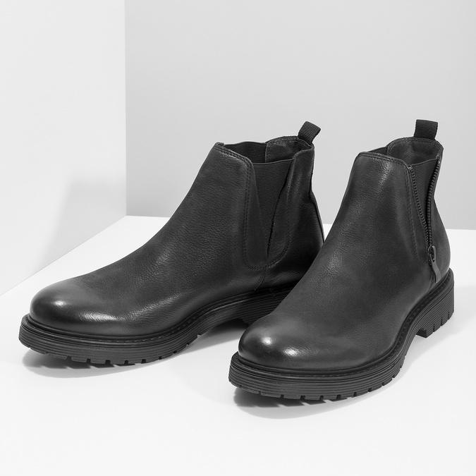Kožená pánská zimní obuv v Chelsea stylu bata, černá, 896-6714 - 16