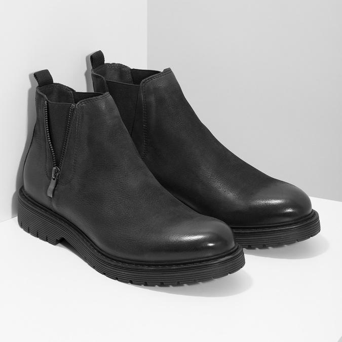 Kožená pánská zimní obuv v Chelsea stylu bata, černá, 896-6714 - 26