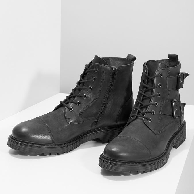 Kožená pánská kotníčková obuv s přezkami bata, černá, 896-6715 - 16