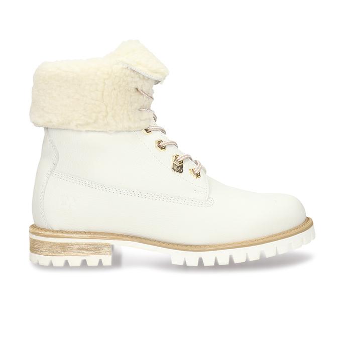 Dámská bílá kožená obuv s kožíškem weinbrenner, bílá, 596-1743 - 19