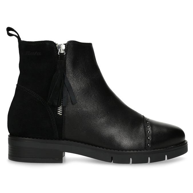 Kožená dámská kotníčková obuv se střapcem flexible, černá, 593-6195 - 19