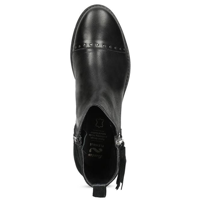 Kožená dámská kotníčková obuv se střapcem flexible, černá, 593-6195 - 17