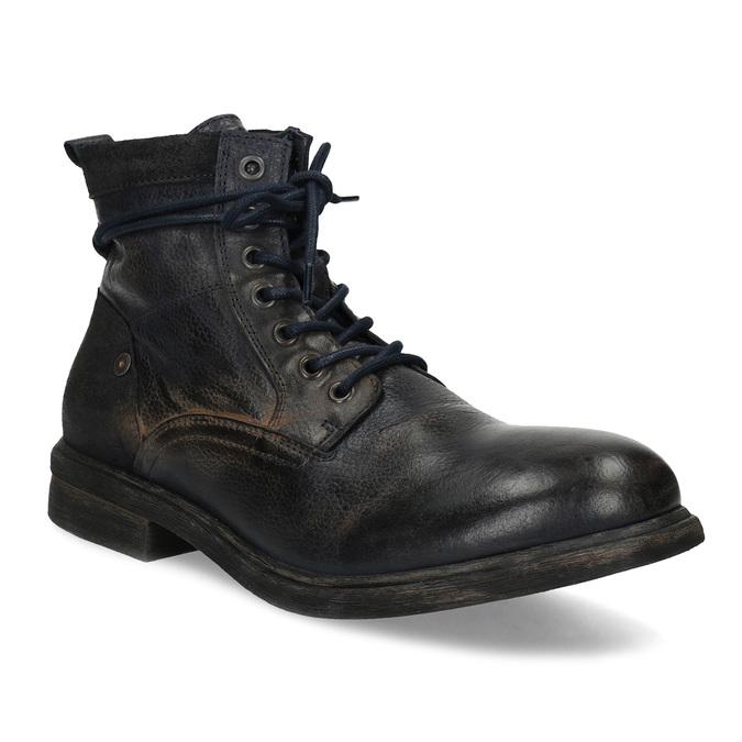 Pánská kožená kotníčková obuv bata, modrá, 896-9717 - 13