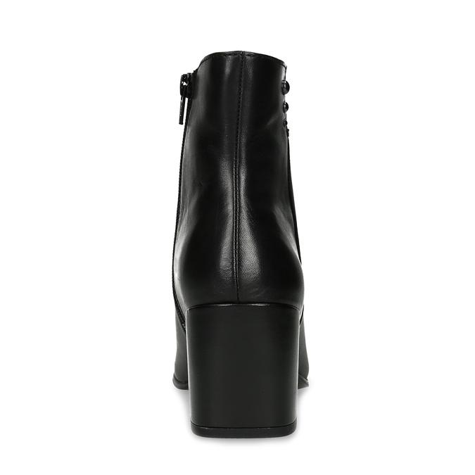 Černá kotníčková kožená obuv na podpatku bata, černá, 794-6658 - 15