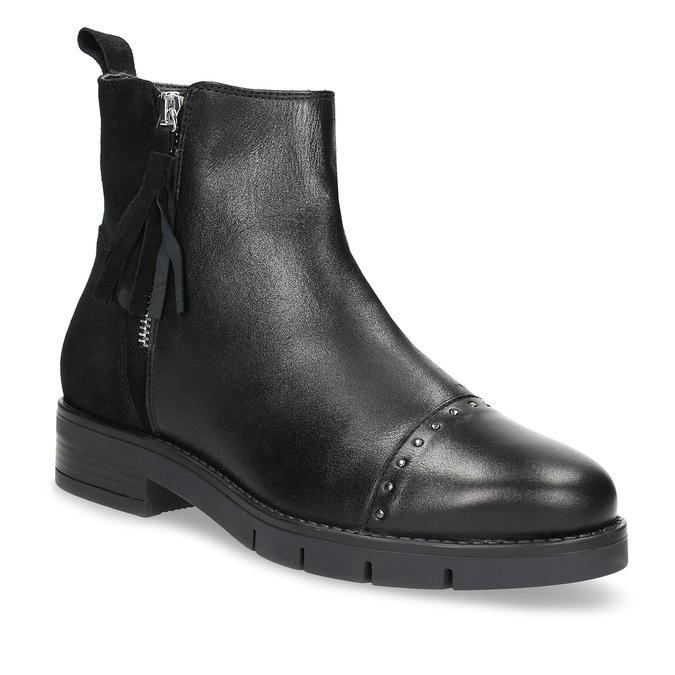 Kožená dámská kotníčková obuv se střapcem flexible, černá, 593-6195 - 13