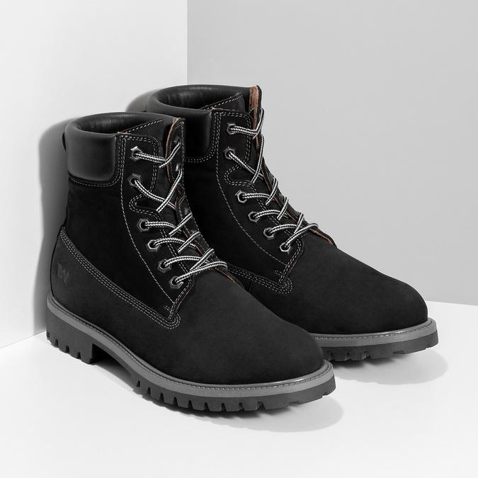 Pánská kožená kotníčková obuv s prošitím weinbrenner, černá, 896-6733 - 26