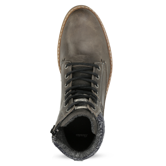 Kožená pánská kotníková obuv s úpletem bata, šedá, 896-2713 - 17