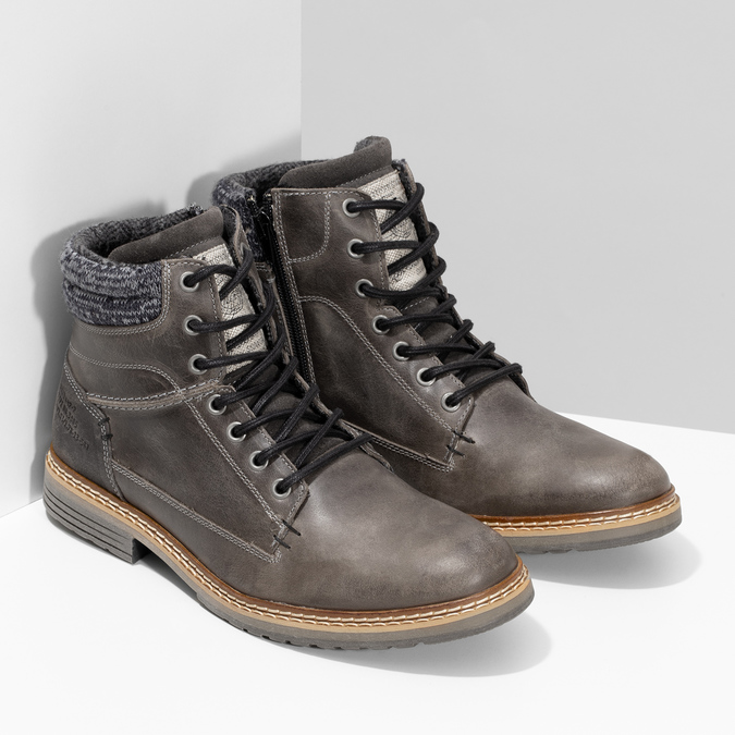 Kožená pánská kotníková obuv s úpletem bata, šedá, 896-2713 - 26