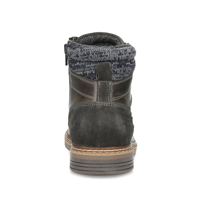 Kožená pánská kotníková obuv s úpletem bata, šedá, 896-2713 - 15