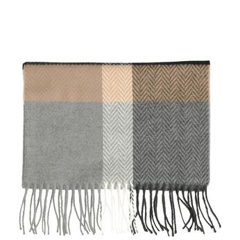 Károvaná šála v přírodních barvách bata, šedá, 909-2721 - 13