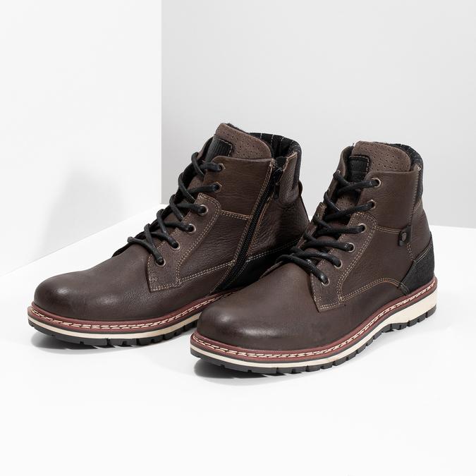 Kotníčková kožená pánská obuv bata, hnědá, 896-4666 - 16