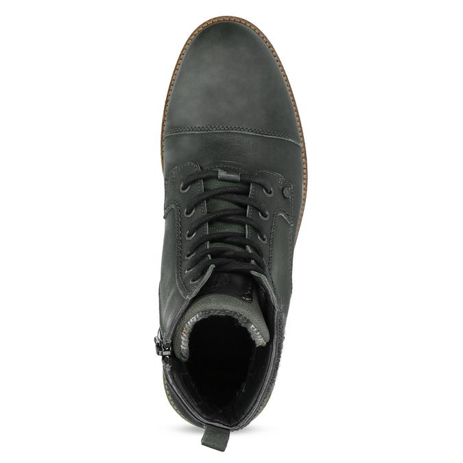 Zelená kožená kotníčková pánská obuv bata, zelená, 896-7669 - 17