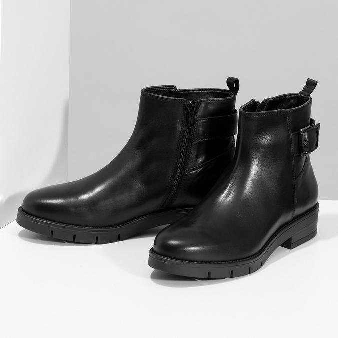 Kožená dámská kotníčková obuv černá flexible, černá, 594-6158 - 16