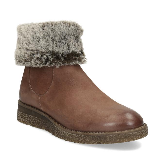 Kožená zimní kotníčková obuv s kožíškem bata, hnědá, 594-4704 - 13