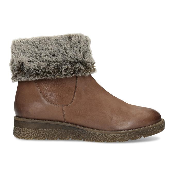 Kožená zimní kotníčková obuv s kožíškem bata, hnědá, 594-4704 - 19