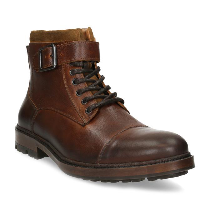 Hnědá pánská kožená kotníčková obuv bata, hnědá, 896-3731 - 13