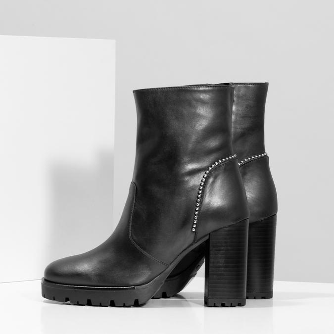 Kožená kotníčková obuv s kovovou aplikací bata, černá, 796-9665 - 16