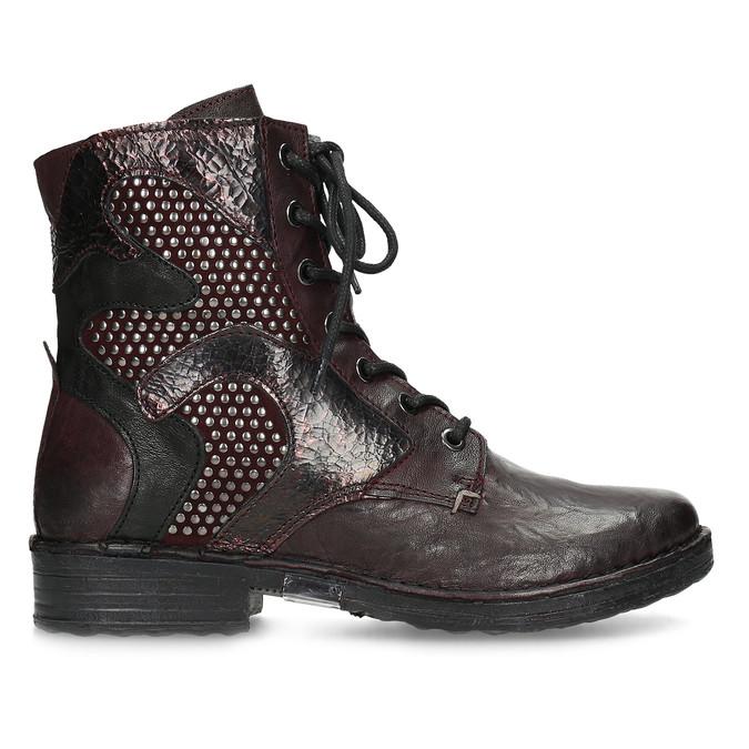 Vínová kožená dámská kotníčková obuv bata, červená, 596-5741 - 19