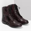 Vínová kožená dámská kotníčková obuv bata, červená, 596-5741 - 26