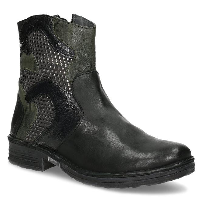 Kožená kotníčková obuv se cvočky bata, černá, 596-6742 - 13