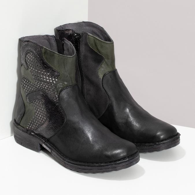 Kožená kotníčková obuv se cvočky bata, černá, 596-6742 - 26