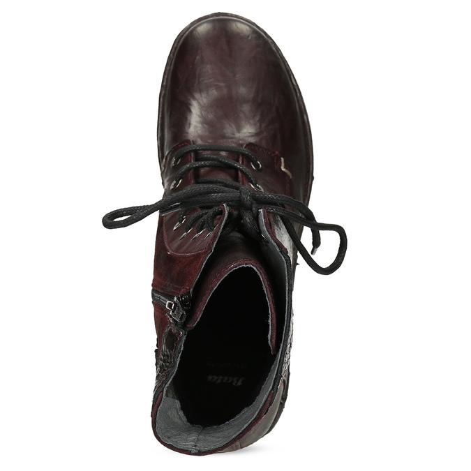 Vínová kožená dámská kotníčková obuv bata, červená, 596-5741 - 17