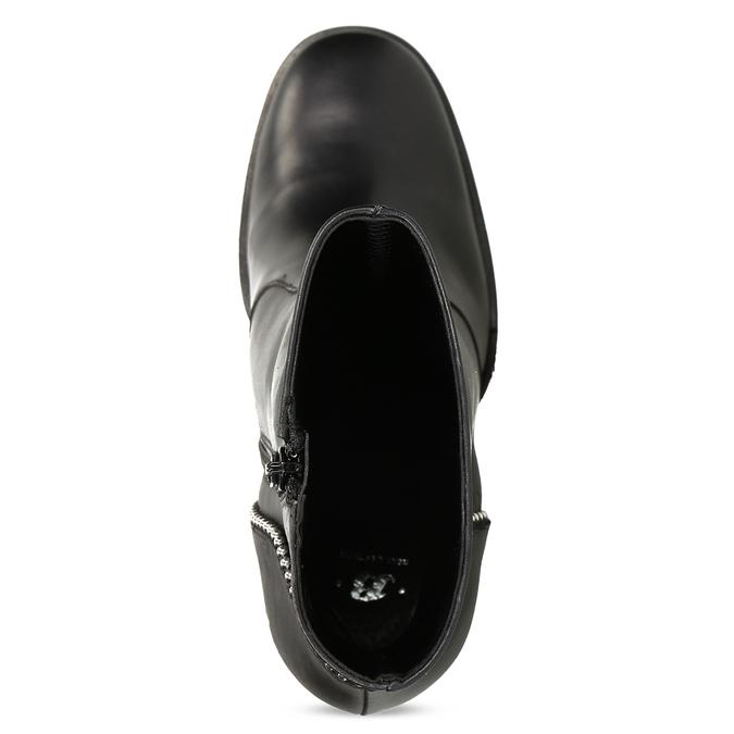 Kožená kotníčková obuv s kovovou aplikací bata, černá, 796-9665 - 17